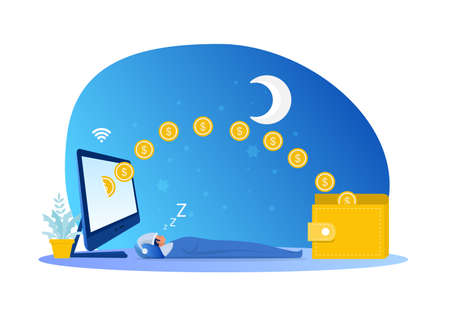 Man sleeping with earning while sleeping passive income concept vector illustrator. Illustration
