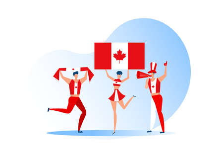 Sport fans,Canada  people celebrating a football team. Active team support  Soccer symbol and victory celebration. Illustration