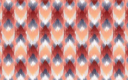 Seamless pattern Tribal Art Ikat in traditional classic red and yellow colors. Design forbackground,carpet,wallpaper,clothing,Batik,fabric,Vector illustration.embroidery style. Vector Illustratie