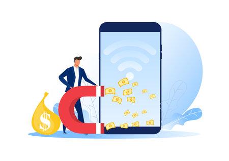 ิีbusinessman use magnet attract Earn money online flat vector illustration.