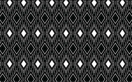 Ethnic geometric print pattern design Aztec repeating background texture in black and white. Fabric, cloth design, wallpaper, wrapping Vektorgrafik