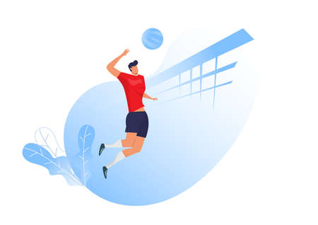 Volleyball player man jumping serving ball, sport hits the ball, side view. Flat design vector illustration Illustration