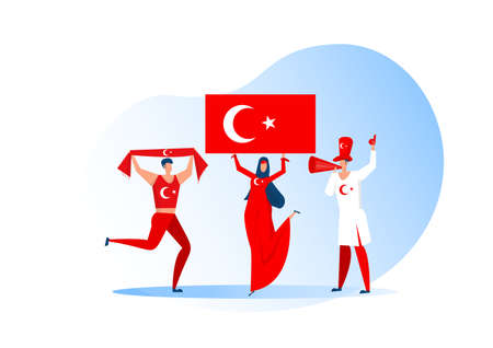 Sport fans,Turkish people celebrating a football team. Active team support  Soccer symbol and victory celebration.