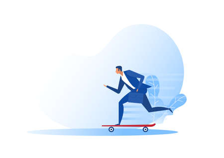 A businessman skateboarding fast business innovation concept vector