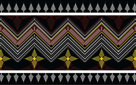 Ethnic geometric print pattern design  Aztec repeating background texture in black and yellow. Fabric, cloth design, wallpaper, wrapping