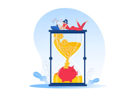 Women make money from online shop, Passive income, cash flow, make money in eCommerce  for website design. Flat vector illustration Illustration