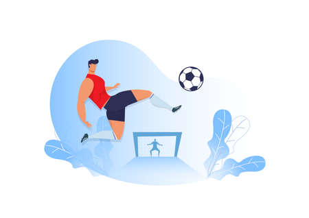 man kick Soccer. Footbal.  Football Player Vector, Football illustration, Sport background. Football background, sport illustration. Football Flat design.