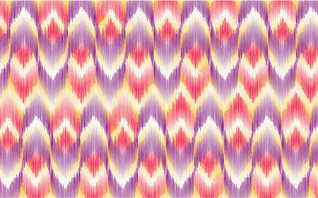 Seamless pattern Tribal Art Ikat  in traditional classic red and yellow colors. Design forbackground,carpet,wallpaper,clothing,Batik,fabric,Vector illustration.embroidery style.