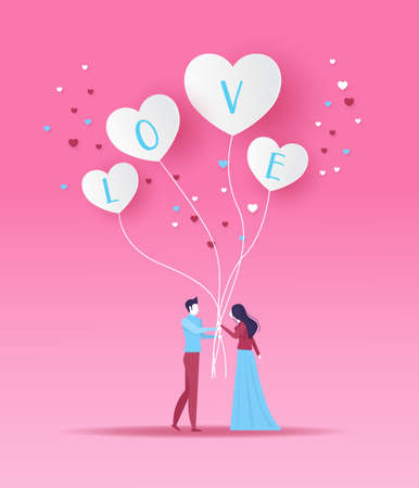 Man and Woman on date holding white heart shaped balloons valentine day design vector illustrator . Illustration