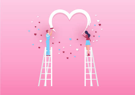 Boy and girl  paint a heart on the wall with rollers. Valentines day pink background Vector.