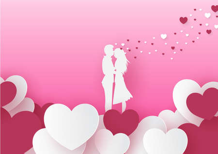 Love concept, Valentines day pink background. Wallpaper. Happy Valentines Day card with hearts paper cut hearts and clouds for romantic valentines day design Illustration