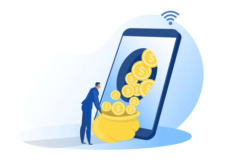 businessman get profit online from smartphone ,screen sitting on money and coins. Finance success, money wealth concept vector illustration Illustration