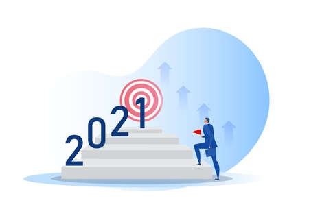 Business vision with target for opportunities on 2021 year vector illustrator. Illustration