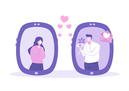 couple people using app smartphone for loving messages. Romantic Online love chat Happy Valentines Day