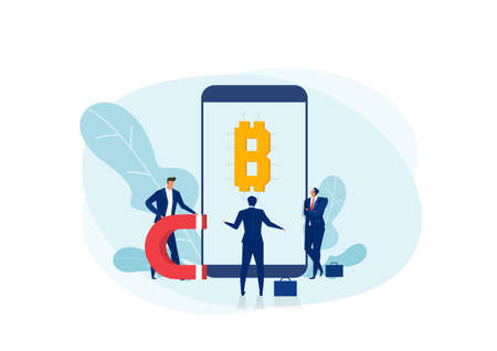 Businessman analyst with bitcoin funding investment.Online mobile bitcoin exchange vector illustrator.