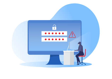 cyber robber sitting at computer table for criminal attacking private information, banking online, password security concept. vector illustration