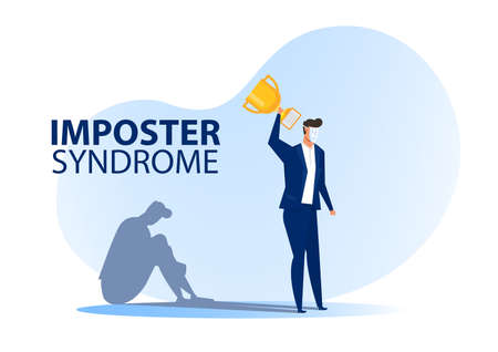 Imposter syndrome.man standing for her present profile with fear shadow behind. Anxiety and lack of self confidence at work; the person fakes is someone else concept