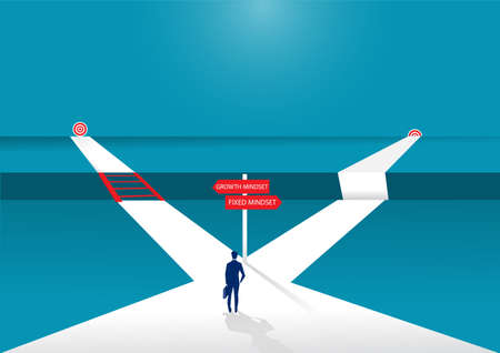 Businessman standing on middle way and choosing direction. growth mindset different fixed mindset concept vector Vetores