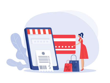 woman holding credit card and phone and making purchase online vector illustration. Vettoriali
