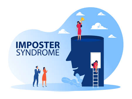Imposter syndrome.woman standing for her present profile with get award. Anxiety and lack of self confidence at work; the person fakes is someone else concept
