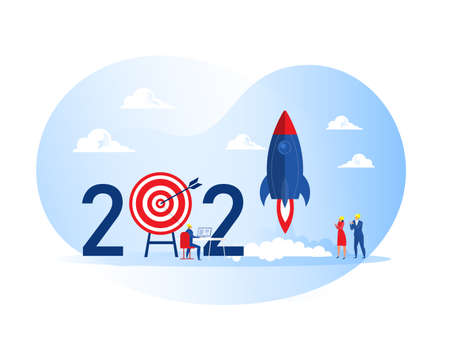 2021 happy new year,People launch spaceship rocket business project start up cocept vector illustrator Vector Illustration