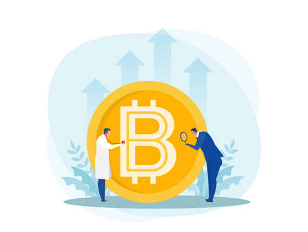 Doctor holding stethoscope for financial check up big bitcoin. Business concept