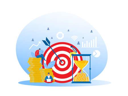 Business Teamwork illustrations promotion and development vector Business success concept, teamwork target