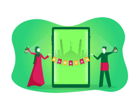 Happy Young Muslim  with Ramadan Kareem  Happy Ramadan Text on green background vector. Vettoriali