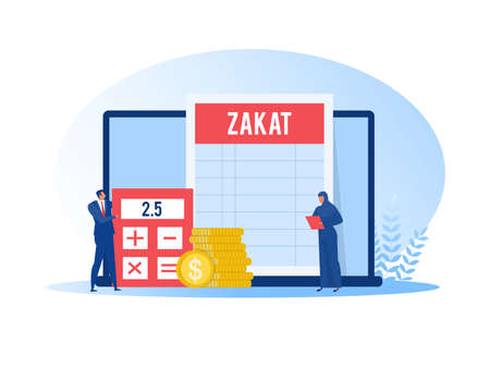 muslim woman and man pay zakat from profit on ramadan kareem vector illustrator.