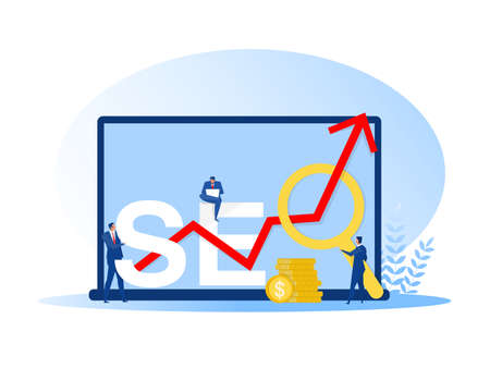 Businessman holding magnifying glass, mouse pointer or using laptop sit on analytics graph on the word SEO vector illustrator.