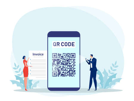 People Using a smartphone to pay with scan QR code concept Vector illustration.