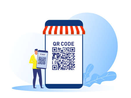 business man holding smartphone use QR code payment online shop concept vector illustration