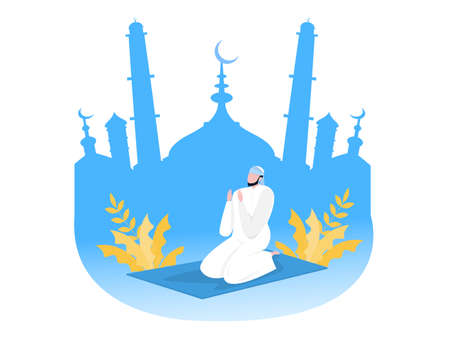 Religious Muslim  prayer in traditional clothes full length vertical vector illustration in mosque background vector graphics
