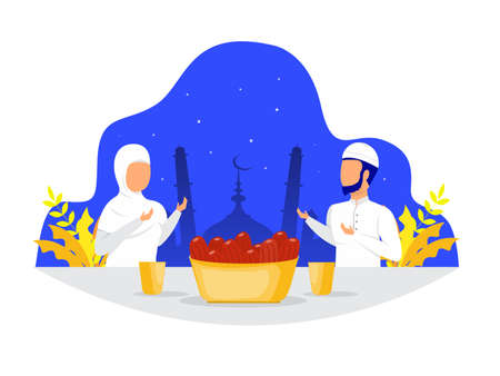 Muslim family dinner or Iftar Eating After Fasting feast party concept on Ramadan Kareem day vector  illustrator.