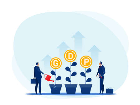 GDP or gross domestic product per capita.Businessman  Watering plants arrow.National earning profit measurement and index.Financial value.vector