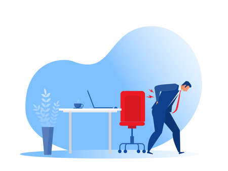 business Man Suffering from Back Pain office syndrome Flat Illustration. Vector Drawing