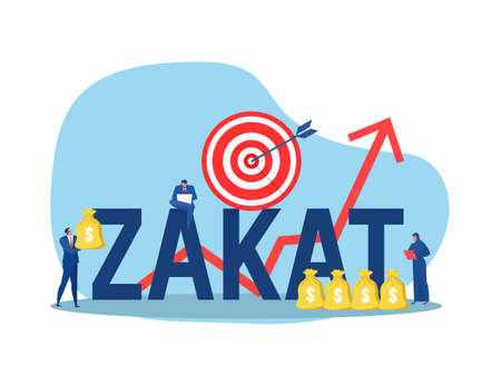 business holding money for pay zakat with growth donation zakat target concept muslim islam count counting money.illustrator vector