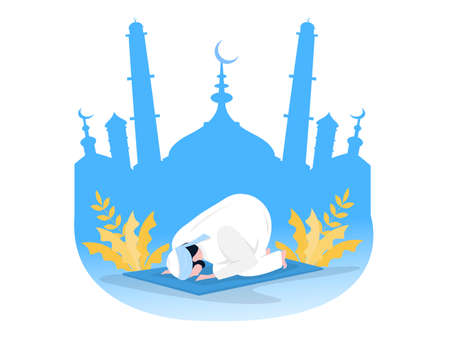 Religious Muslim Prayer prayer in traditional clothes full length vertical vector illustration in mosque background vector graphics