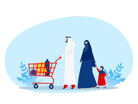 Muslim family buying shopping with wheeling shopping cart in grocery store. Vector illustration for retail, lifestyle, Arab people concept Vettoriali