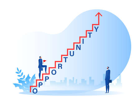 businessman walking on staircase with opportunity word growth success to career concept vector illustrator