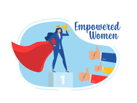 Businesswoman sucess with impower woman about Victory. Success. Leadership Career Concept