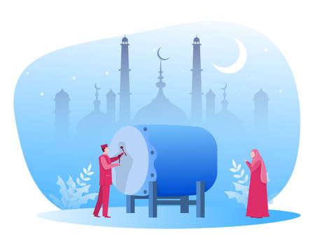 eid mubarak day with Muslim people on Ramadan kareem illustration vector illustration Vector illustration 矢量图像
