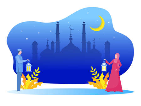 Muslim young man and woman bring lamp and walking to the mosque. Ramadan kareem illustration vector illustration