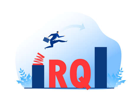 Businessman jump spring across the growing bar chart.Resilience Quotient vector illustrator. Vettoriali