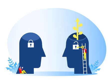 businessman carry big Key to Unlock Idea growth mindset concept .