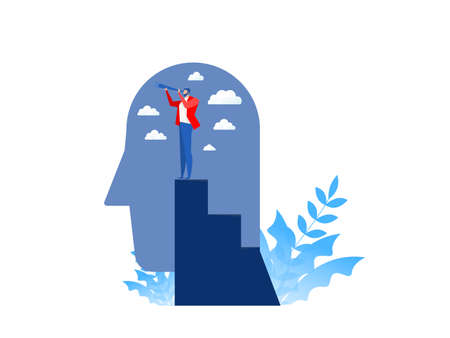 Business vision with  looking for opportunities in spyglass standing on top peak of head human  business concept vector illustration.