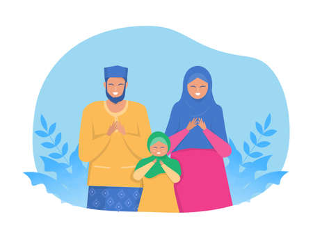Happy Muslim parents and child pray on religious holiday characters on cartoon flat vector web banner