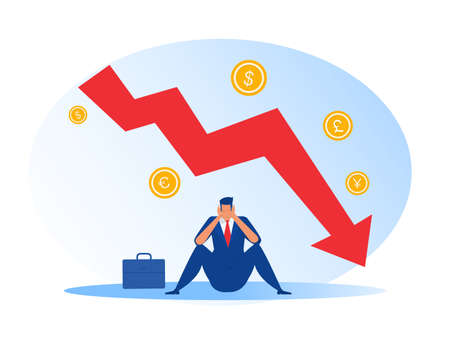 businessman sit stress down arrow chart graph and bankrupt finance fall vector illustrator Vettoriali