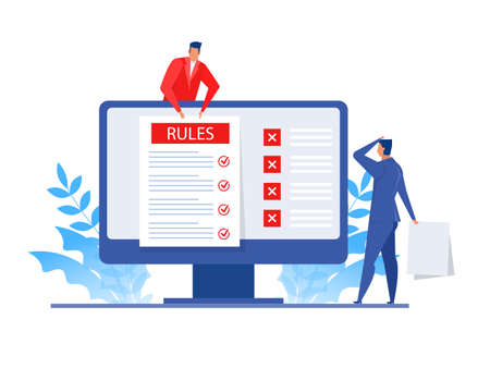 Businessman presentation about rules concept business online concept of internet.