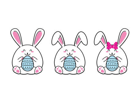 White easter rabbit. Easter Bunny. Happy Easter Bunny Vector illustration.